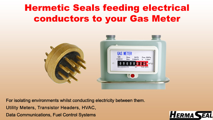 Hermetic Seals feeding electrical conductors to your gas meter